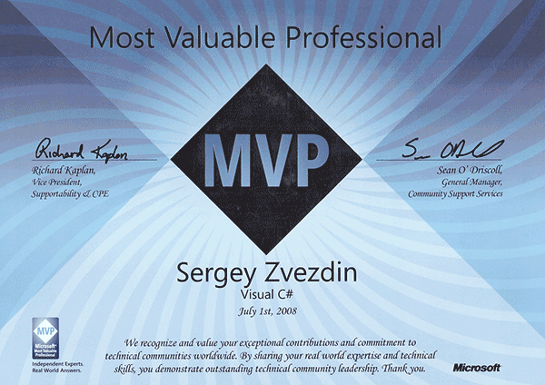 Microsoft Most Valuable Professional, Visual C#, 2008