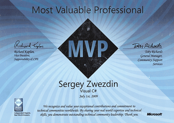 Microsoft Most Valuable Professional, Visual C#, 2009