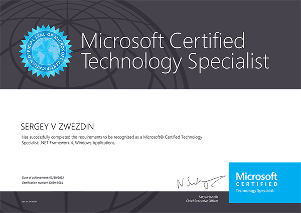 Microsoft Certified Technology Specialist: .NET Framework 4, Windows Applications