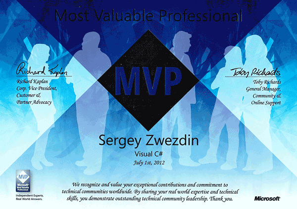 Microsoft Most Valuable Professional, Visual C#, 2012