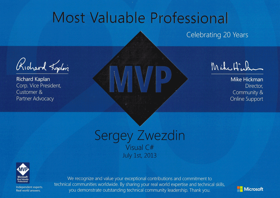 Sergey zwezdin software developer microsoft mvp microsoft most valuable professional visual c 2013 xflitez Gallery